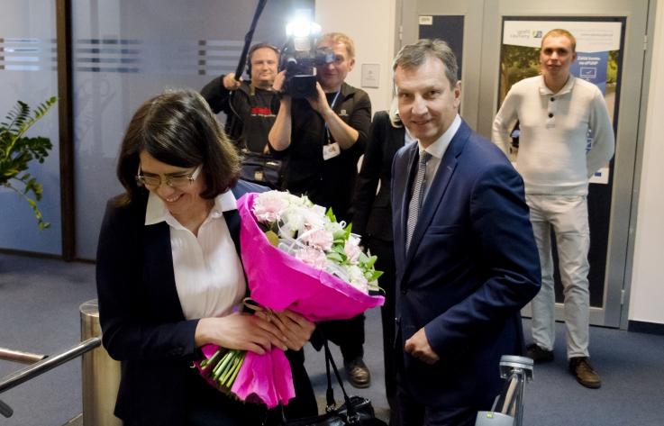Minister Halicki wita nową minister cyfryzacji Annę Streżyńską.